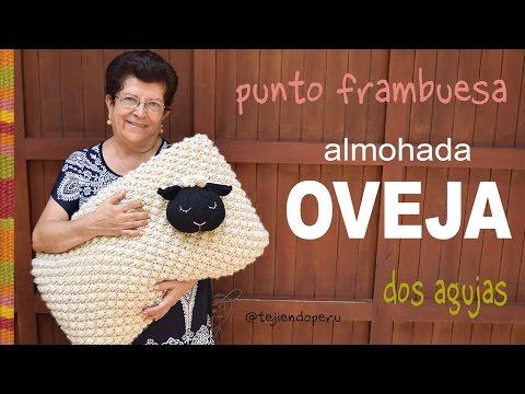 Oveja almohada tejida en dos agujas en PUNTO FRAMBUESA - Tejiendo Perú