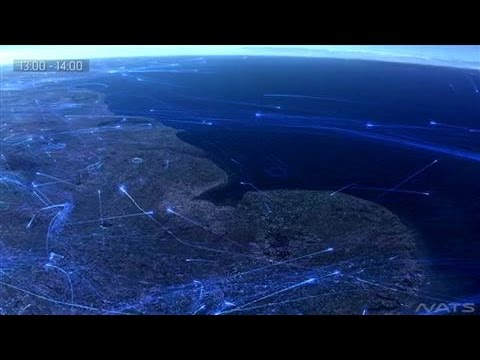 Time-Lapse of Flights in the U.K.'s Busy Skies