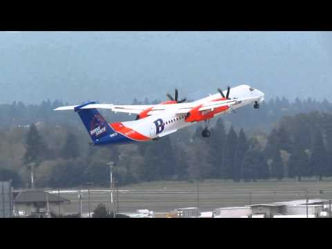 Alaska Airlines Bombardier Q400 With The Boise State University Paint Job Takes Off From PDX On Runw