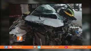 3 Wounded in Road Mishap as Speedy Lorry Hits Car at Langer House | Hyderabad | iNews - INEWS