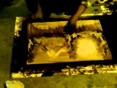Cuadros pintados a mano con petróleo.