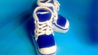 Вязание спицами пинетки-кеды #28