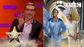 When Stephen Merchant came toe to toe with THE ROCK! 💪  - BBC - BBC