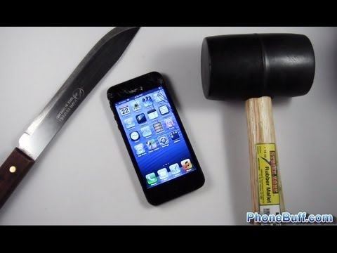 Apple iPhone 5 Hammer Drop &amp; Knife Scratch Test