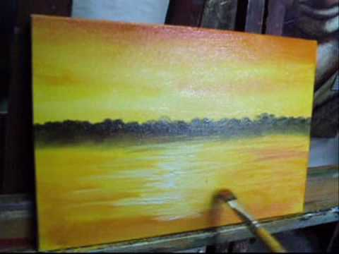 Video aula pintura em tela Paisagem Marcio monteiro.