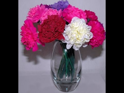Jak zrobić kwiaty z bibuły Peonia  Peony DIY