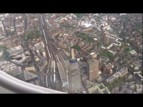 London City Airport landing over central London inc Shard of Glass