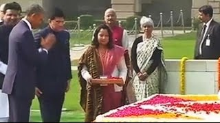 Obama lays wreath at Rajghat, leaves with namaste - NDTV