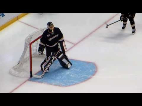 Hiller and Andersen during pre-game warm-up at the Coyotes @ Ducks hockey game Part 1