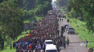 Migrant Caravan Pushes Forward After Stop At Guatemala-Mexico Border | NBC Nightly News - NBCNEWS