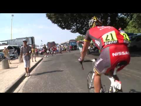 Lance Armstrong collision with spectator 2010 Tour de France