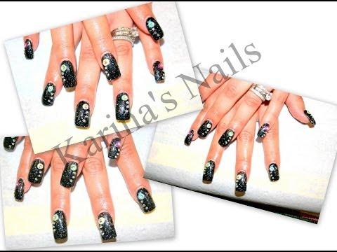 Uñas acrilicas: Negro y Neon/Acrylic nails: Black & Neon
