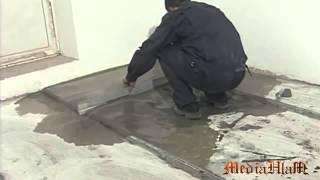 Выравнивание полов по маякам и укладка плитки на пол