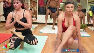 Rakhi Sawant & Arshi Khan's hot Yoga | International Yoga Day 2018 | #InternationalYogaDay2018 - IGTELUGU