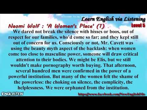 Unit 9 Naomi Wolf:  ' A Woman's Place'  (1) | Learn English via Listening Level 5