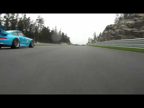 Porsche 997 GT3 vs 993 GT2 Evo track racing; flames and sound!