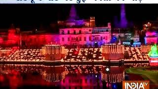 Deep Mahotsav in Ayodhya: Record 1.71 lakh earthen lamps lit on ghats of Sarayu river - INDIATV