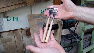 Дедовский метод изготовления деревянных ручек для сломанных столовых вилок своими руками