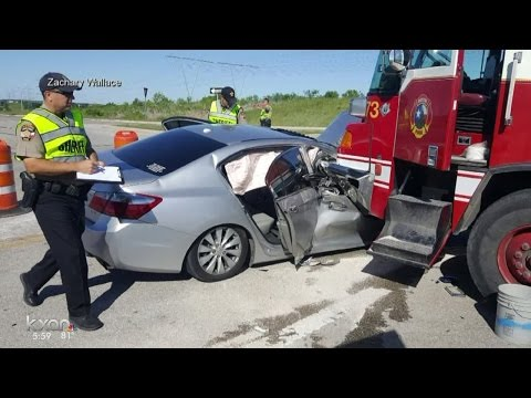 Driver amazed he survived crash involving fire truck