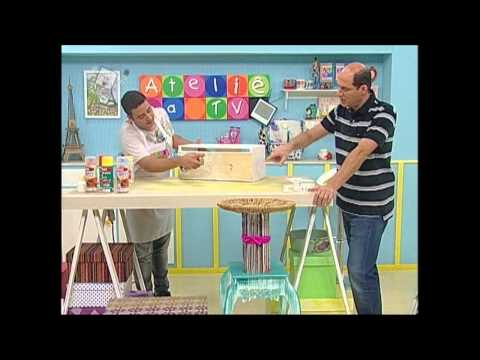 Colorgin no Ateliê na TV - Mesa lateral reciclada com caixa de madeira