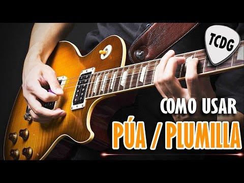 Aprender como tocar guitarra electrica facil: Como usar pua /plumilla (2) acordes la cuerda TCDG