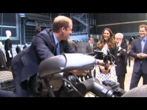 Prince William, Kate Middleton and Prince Harry play with props at Warner Bros studios