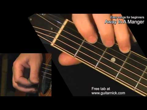 Away In A Manger - Guitar lesson WITH TAB! Easy for beginners - Learn how to play