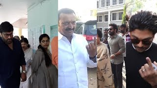 Celebrities Cast their vote | Allu Arjun | Nagarjuna |Mega Star Chiranjeevi | Bandla Ganesh - IGTELUGU
