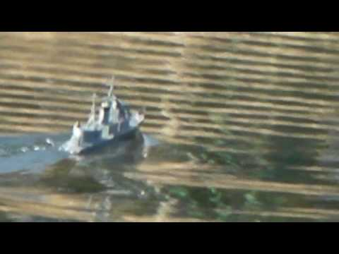 RC boat , RC ship , One Dollar Fleet No.17 runs in AKIKAWA riv.