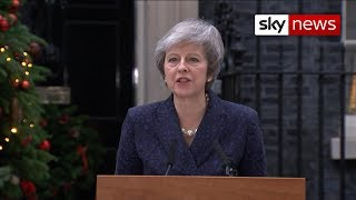 Theresa May makes a statement at Downing Street as she faces a vote of no confidence - SKYNEWS