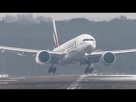 Crosswind Landings during a storm at Düsseldorf on an icy runway. Boeing 777 Airbus A340 A330