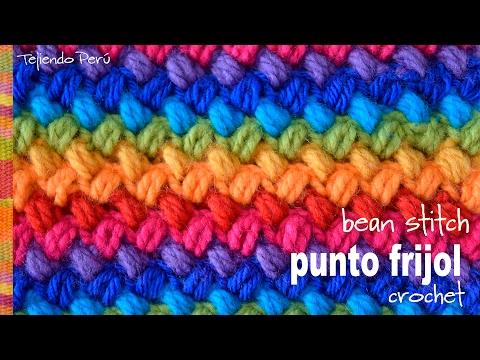 Punto frijol tejido a crochet: bello y reversible! / Crochet bean stitch! -Tejiendo Perú