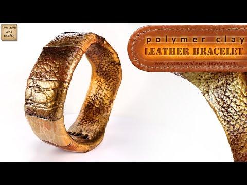 Браслет с имитацией кожи, из полимерной глины