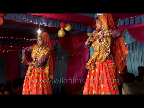 Kumaoni girls performing at cultural evening of Kangdali festival