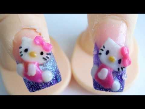 Hello Kitty acrylic nail design 3d purple glitter