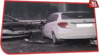 पूर्वी दिल्ली के पटपड़गंज में Honda के Showroom में आग, 20 कार जलकर राख - AAJTAKTV