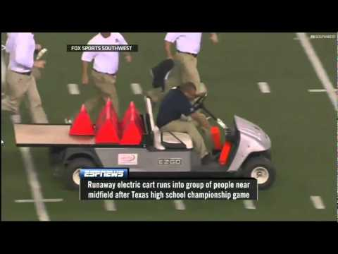 Accidente Insólito!! Carro Fuera de Control en Cowboys Stadium  Runaway Cart at Cowboys Stadium