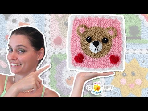 Teddy Bear Blanket Square - Crochet Motif - February
