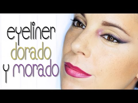 Maquillaje delineado morado y dorado | Silvia Quiros