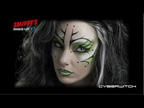 Cyber Witch Face Painting Halloween Make-up Tutorial