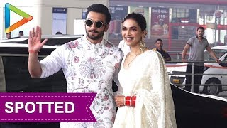 SPOTTED: Power Couple Ranveer Singh & Deepika leave for Bangalore reception - HUNGAMA