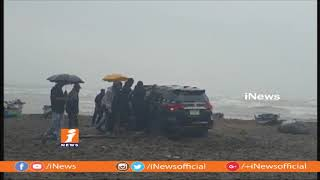 Phethai Cyclone | Minister Ganta Srinivasa Rao Car Stuck at Bheemili Beach | iNews - INEWS