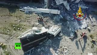 Aerial view: Aftermath of deadly Genoa bridge collapse - RUSSIATODAY
