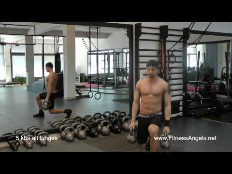 Srednje teški trening bez pauze sa girjama: rutina 3