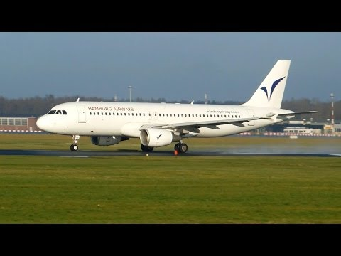 Hamburg Airways ► Airbus A320-200 ► Takeoff ✈ Groningen Airport Eelde