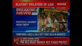 PnB MCD Brandy Branch, Mumbai: NCP leader stages protest against Nirav Modi - NEWSXLIVE
