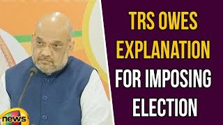 TRS owes explanation for imposing election Says Amit Shah at BJP office Nampalli ,Hyderabad - MANGONEWS