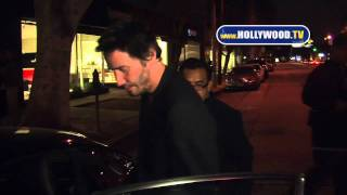 chanel-: Keanu Reeves stays hush hush as he leaves Madeo Restaurant