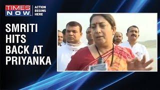 BJP MP Smriti Irani SLAMS Congress' Priyanka Gandhi - TIMESNOWONLINE