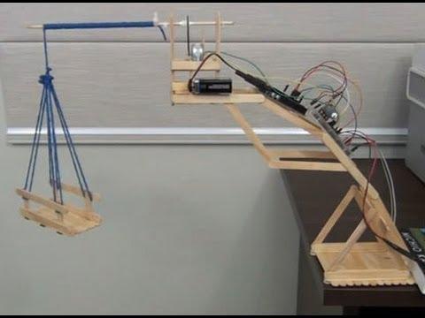 Guincho e elevador de palito de picolé com Arduino, ponte H e Motor CC